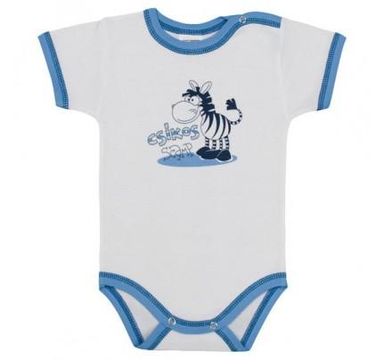 Body cu maneca scurta, Zebra, alb /Basic