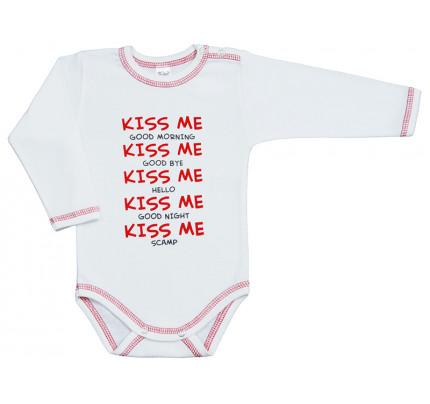 Body cu maneca lunga, cu mesaj Kiss Me, Basic
