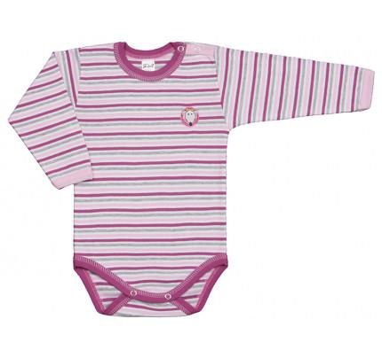 Body cu maneca lunga, roz, cu dungi, PO5