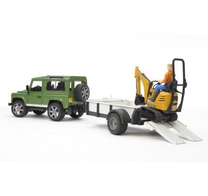 Masina Bruder, Land Rover Defender cu remorca, cu micro excavator JCB, + muncitor