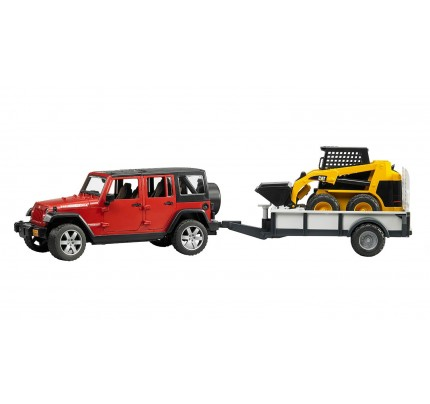 Bruder Jeep Wrangler cu trailer si incarcator compact CAT