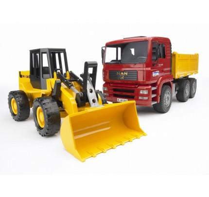 Camion Bruder MAN TGA basculabil si buldozer FR130