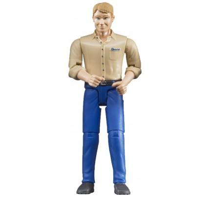 Figurina barbat cu camasa bej Bruder bworld 60006