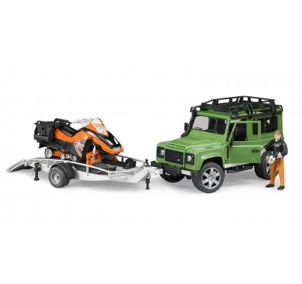 Masina Bruder, Land Rover Defender cu remorca, cu snowmobil + sofer