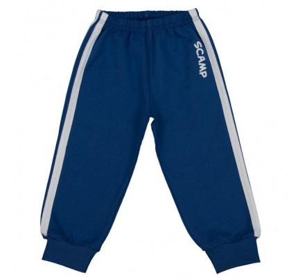 Pantaloni trening cu elastic in talie albastru inchis-alb