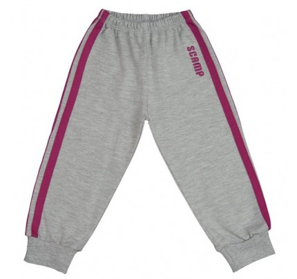 Pantaloni trening cu elastic in talie, gri cu dungi mov