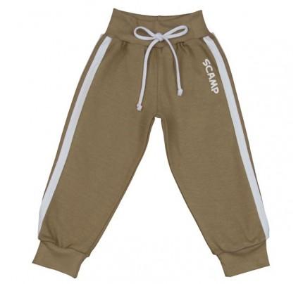 Pantaloni trening cu banda lata in talie, bej-alb