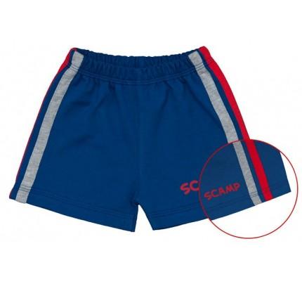 Pantaloni scurti copii / Albastru inchis cu dungi rosu si gri