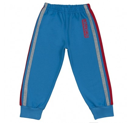 Pantaloni trening cu elastic in talie, albastru cu dungi