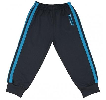 Pantaloni trening cu elastic in talie negru grafit cu dungi albastre