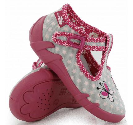 Papucei fetite, din material textil, gri, cu fluturasi brodati