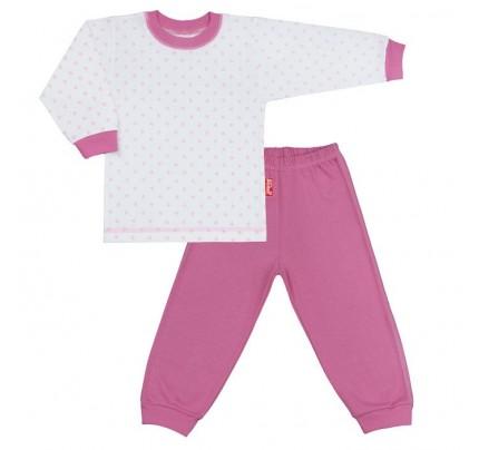 Pijama copii cu motiv inimioare, roz
