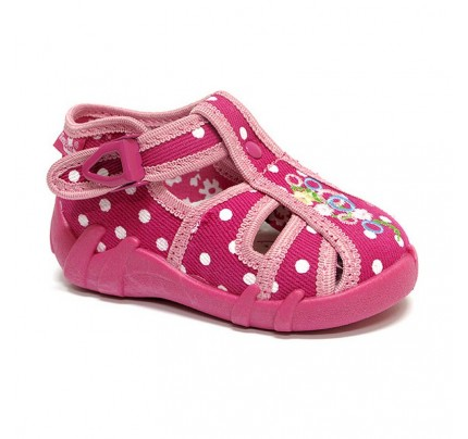 Sandale fetite cu catarama, din material textil, roz, cu floricele brodat
