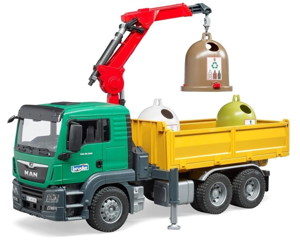 Masina de gunoi MAN TGS cu macara si 3 containere, Bruder