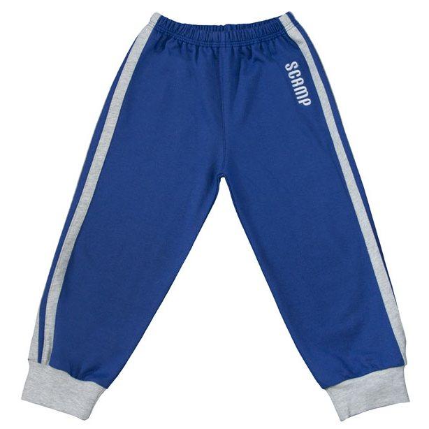 Pantaloni trening cu elastic in talie albastru inchis-gri