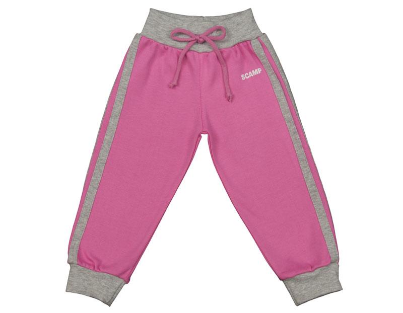 Pantaloni trening cu banda lata in talie, roz-gri