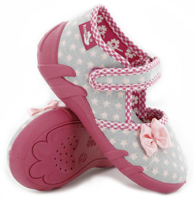 Pantofi fetite, din material textil, gri, cu stelute roz si fundita