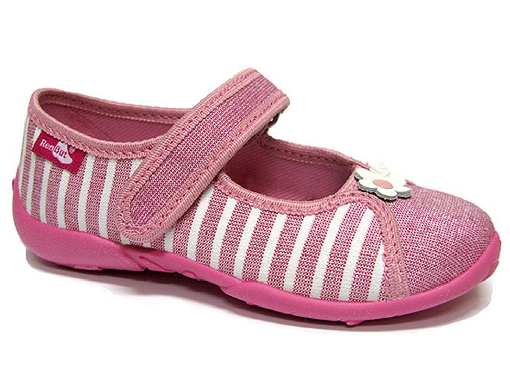 Pantofi fetite, din material textil, roz cu scai, cu floricel alb