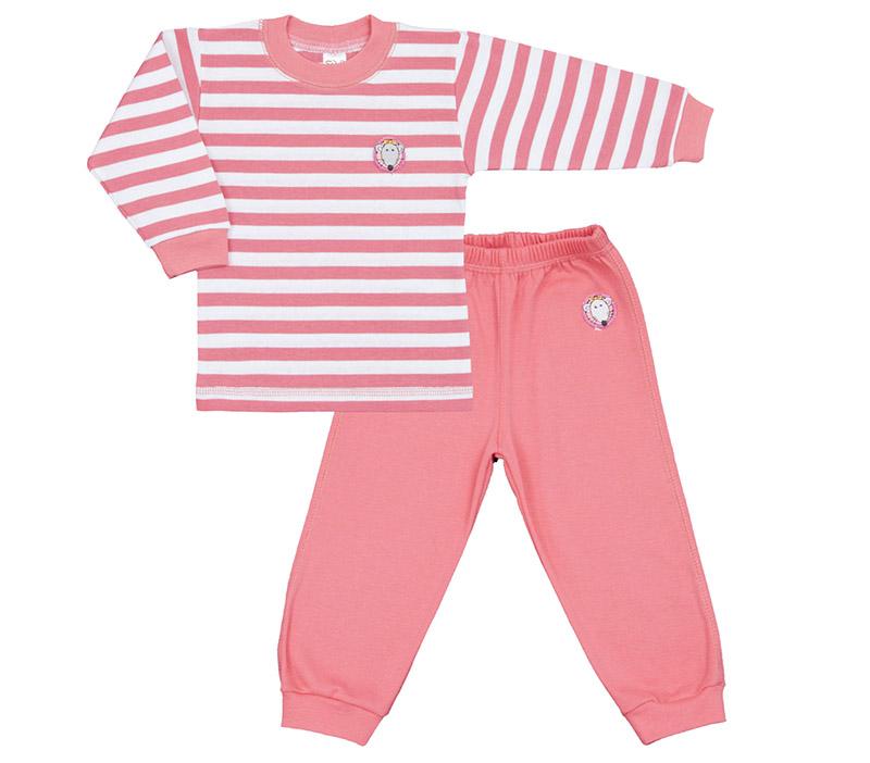 Pijama copii, roz cu dungi