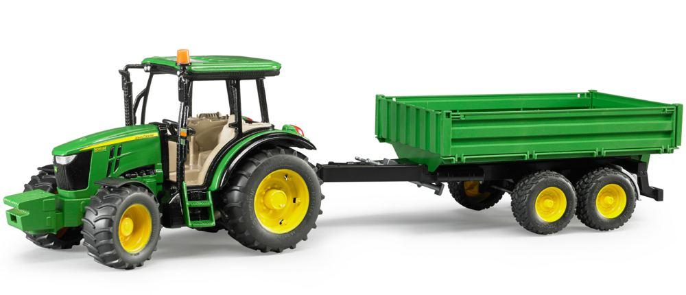Tractor Bruder, John Deere 5115M cu remorca