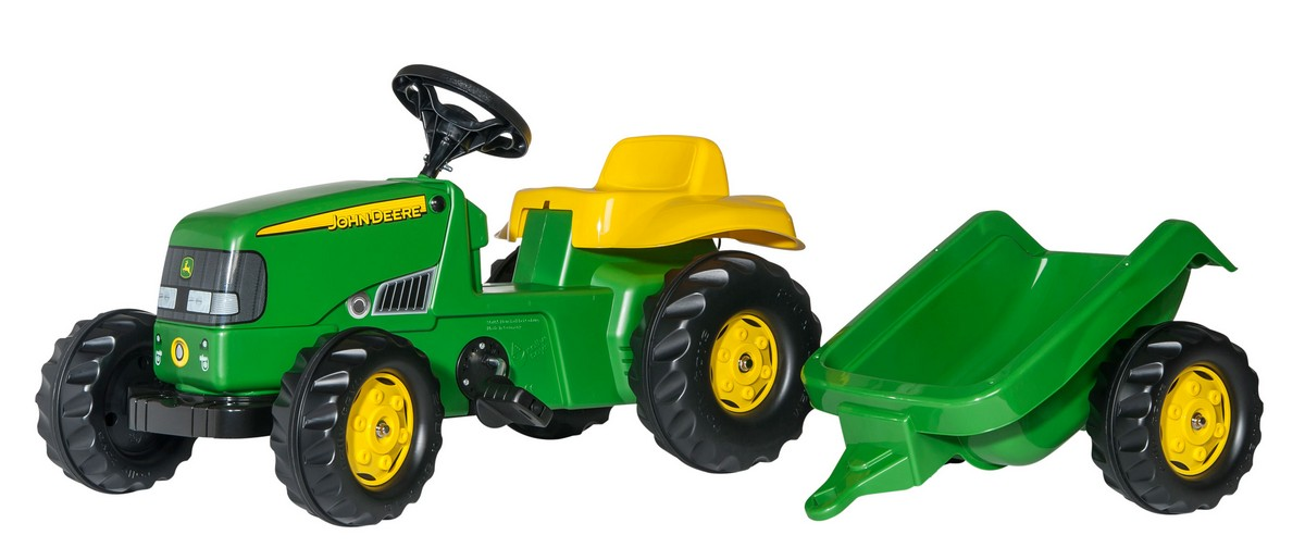 Tractor cu pedale si remorca Rolly Toys, RollyKid John Deere