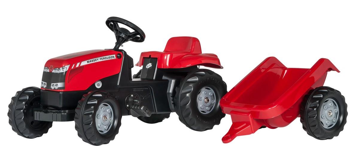 Tractor cu pedale si remorca Rolly Toys, RollyKid Massey Ferguson