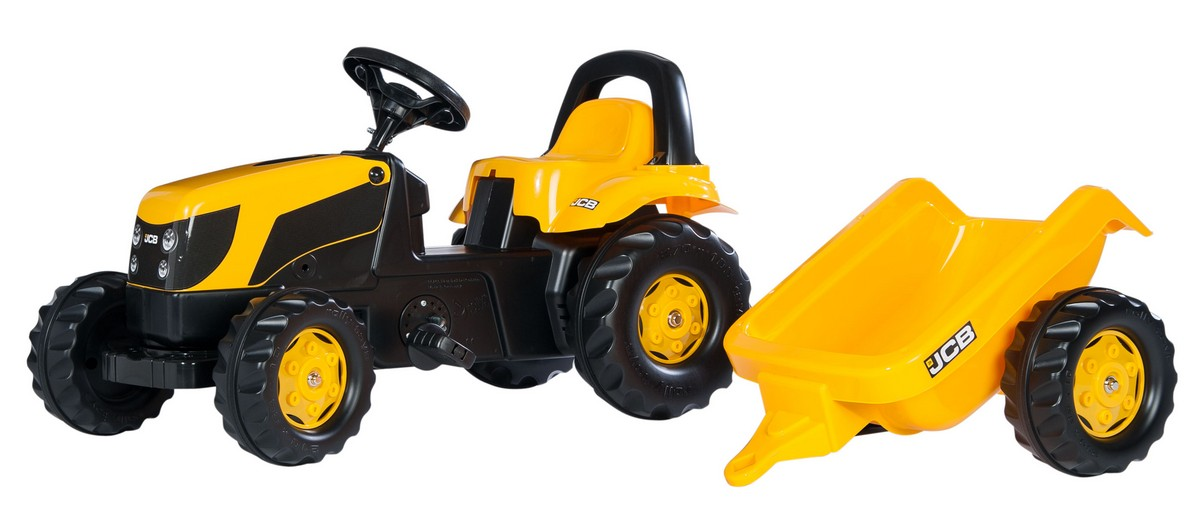 Tractor cu pedale si remorca Rolly Toys, RollyKid, JCB